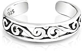 Cut-Out Celtic Swirl Filigree Thin Midi Band Toe Ring For Women 925 Silver Sterling Adjustable