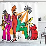 Ambesonne Music Shower Curtain, Jazz Band Playing on The Stage with Singer and Illustration of Neon Artwork Print, Cloth Fabric Bathroom Decor Set with Hooks, 70' Long, White Red