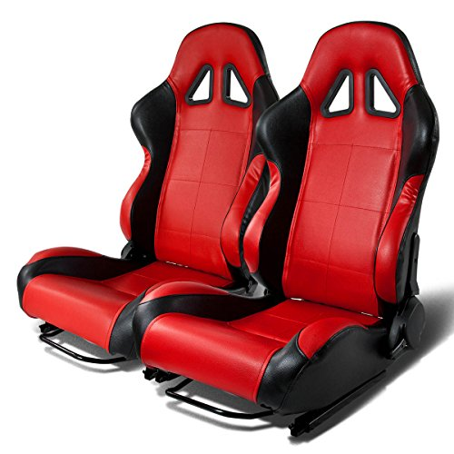Universal Full-Reclinable Blue Faux Leather Sport Racing Seats With Black Trim Set of 2