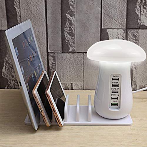 Base de Carga Multi USB, Vaxiuja Lámpara de Escritorio, Lámpara de Mesa Regulable con Control Táctil, Base de Carga, 5 Puertos USB,Base de Carga Inteligente y Organizador para Teléfonos Inteligentes