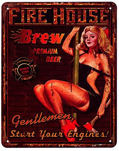 Moritz Blechschild Fire House Brew Premium Beer Bier 20 x 25 cm Deko Schild mit Aufdruck Aufschrift