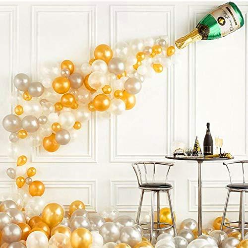 Danolt 91 Pcs Botella de champán de Papel de Aluminio con Globos Plateados de Oro Blanco, para la Fiesta de cumpleaños de Carnaval de Halloween Decoración navideña de Halloween.