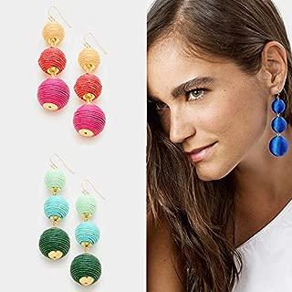 Legenstar Pseol Bon Bon Thread Ball Drop Earrings Jewelry Fashion Women Statement Drop Earring (Blue)