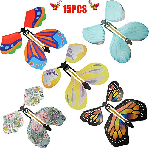 lEPECQ 15PCS Magic Fairy Flying Butterfly, Rubber Band Powered Flying Toys Magic Butterflies, Wind Up Butterfly Toy Great Surprise Gift for Valentine's Day and New Year