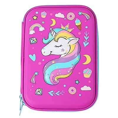 Wenlia Estuche para lápices para niños, diseño de unicornio, carcasa rígida antigolpes, con cremallera, para niñas y niños