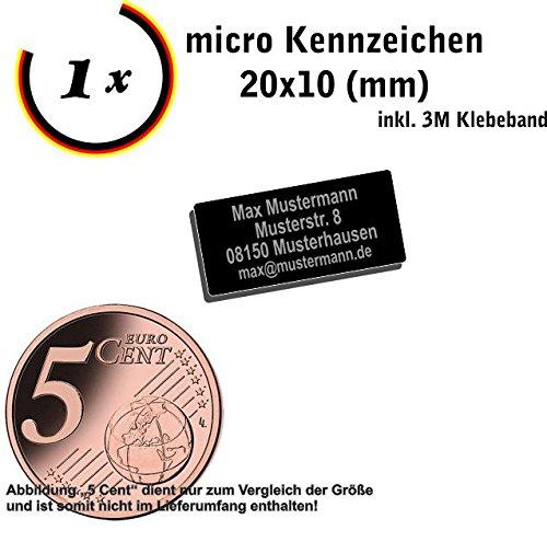 Gravierwerkstatt-Salomon Micro Drohnenkennzeichen 20x10mm oder 15x7mm, Drohnenplakette mit hochwertiger Lasergravur und Klebestreifen, Drohnenkennzeichnung feuerfest