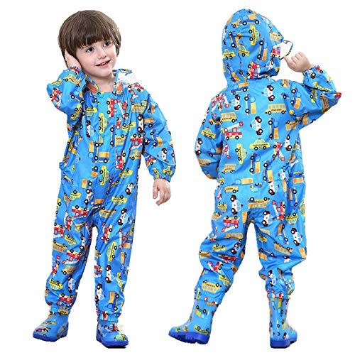 TURMIN Kinder Regenmantel mit Kapuze Mädchen Jungen Wasserdicht Regenanzug All in One Süß Muster Regenjacke Regenbekleidung Regen Poncho für Grundschüler Jungen Mädchen-Blau-S