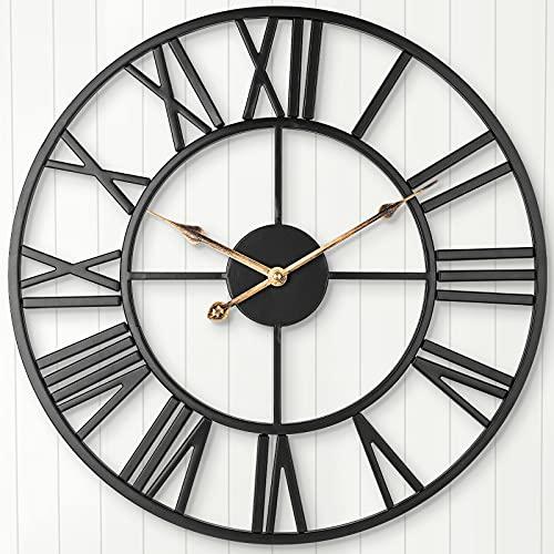 ARVINKEY Reloj de Pared Silencioso Europeo Granja Reloj Vintage con Números Romanos 47 cm No Tictac, Funciona con pilas, Esqueleto de Metal, Reloj Decorativo para el hogar, Cocina, Café (Negro)