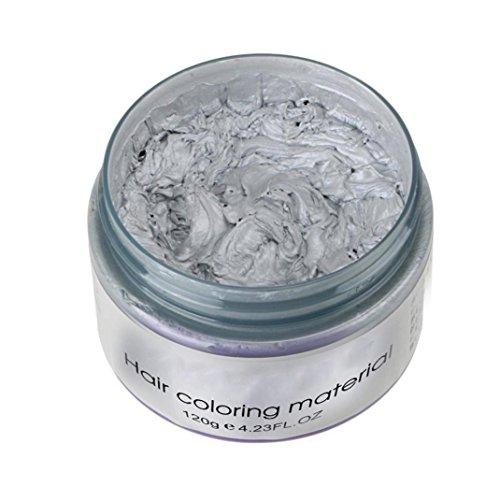 Inkach Hair Dye Wax, Unisex DIY Hair Color Clay Mud Temporary Hairstyle Molding Coloring Hair Cream (Grey)