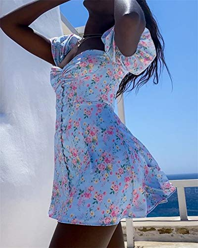 ORANDESIGNE Vestidos Mujer Bohemio Largo Florales Verano Playa Fiesta Vestido Casual Magas Cortas Escote Cuadrado Noche Playa Vacaciones H Azul M