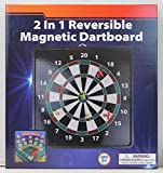 2-in-1 Reversible Magnetic Dartboard with Standard Darts & Baseball Game