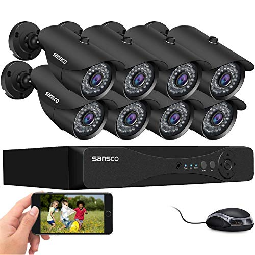 [5MP 8Channel] SANSCO 5MP Home Security Camera System, H.265+ 8CH DVR Video Recorder, 8Pcs 2K HD 2560TVL Outdoor Waterproof CCTV Cameras, Night Vision, Easy Remote Access, Motion Alert, No Hard Drive