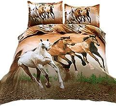 Suncloris، 4 قطع الملكة حجم غطاء لحاف ، 3D Galloping Horse Bedding مجموعة لحاف غطاء سرير كتان سرير ... (Galloping Horse)