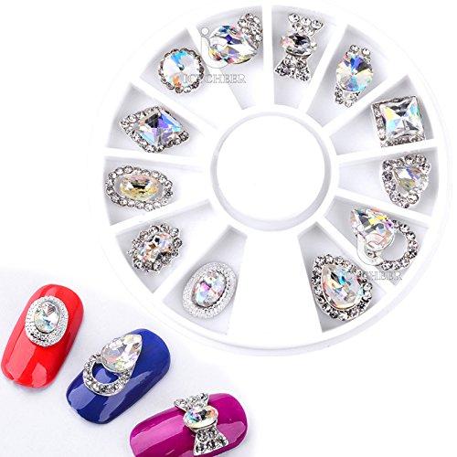 ICYCHEER Nail Art Big Size Alloy Rhinestone Charm 3D Decoration Pearl Jewelry Acrylic Glitter Gem Studs Nail Tips DIY Tool
