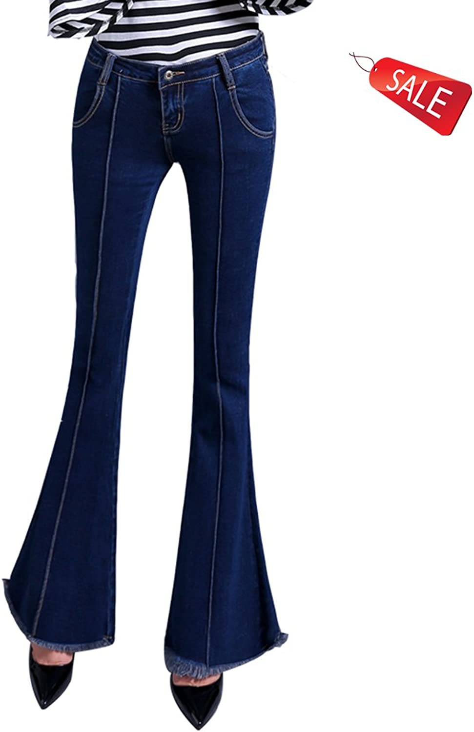 Europe Fish Mouth Boot Cut Pant Very Large Jeans Female Slim Elasticity (Size   28)