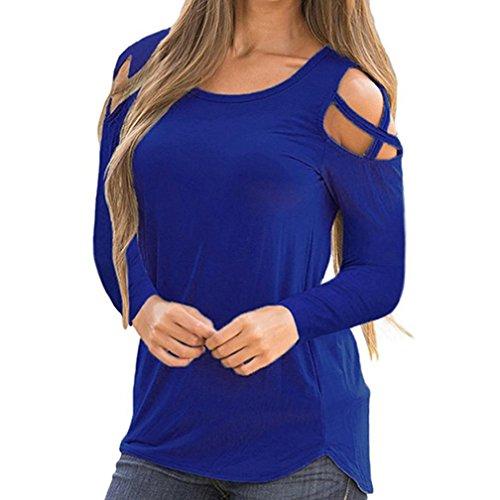 Price comparison product image CUCUHAM Women Summer Short Sleeve Strappy Cold Shoulder T-Shirt Tops (L,  Z-Blue)