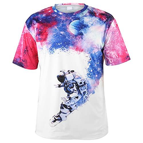 Hztyyier Camisas Hawaianas Florales para Hombre Camisetas Estampadas con Cuello Redondo Camisa de Manga Corta de Estilo Informal con Estilo Informal Suelto(M-DX010019)