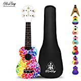 Honsing Soprano Ukulele Colorful Floral petal Painting Hawaii kids Guitar 21 inch Gift for Beginner matte finish