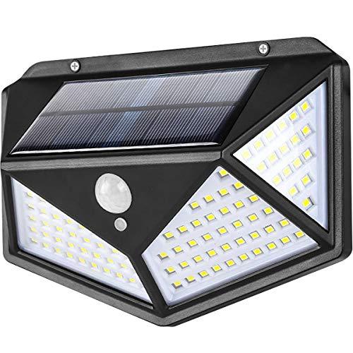 Luces Solares,114 LED Lámpara Solar Exterior Solar Luz LED,3 Modos 270 ° Lámpara Solar Exterior IP65 Impermeable Iluminación Exterior con Sensor de Movimiento para Jardín,Patio, Terraza, Inicio, Camino, Escalera Exterior