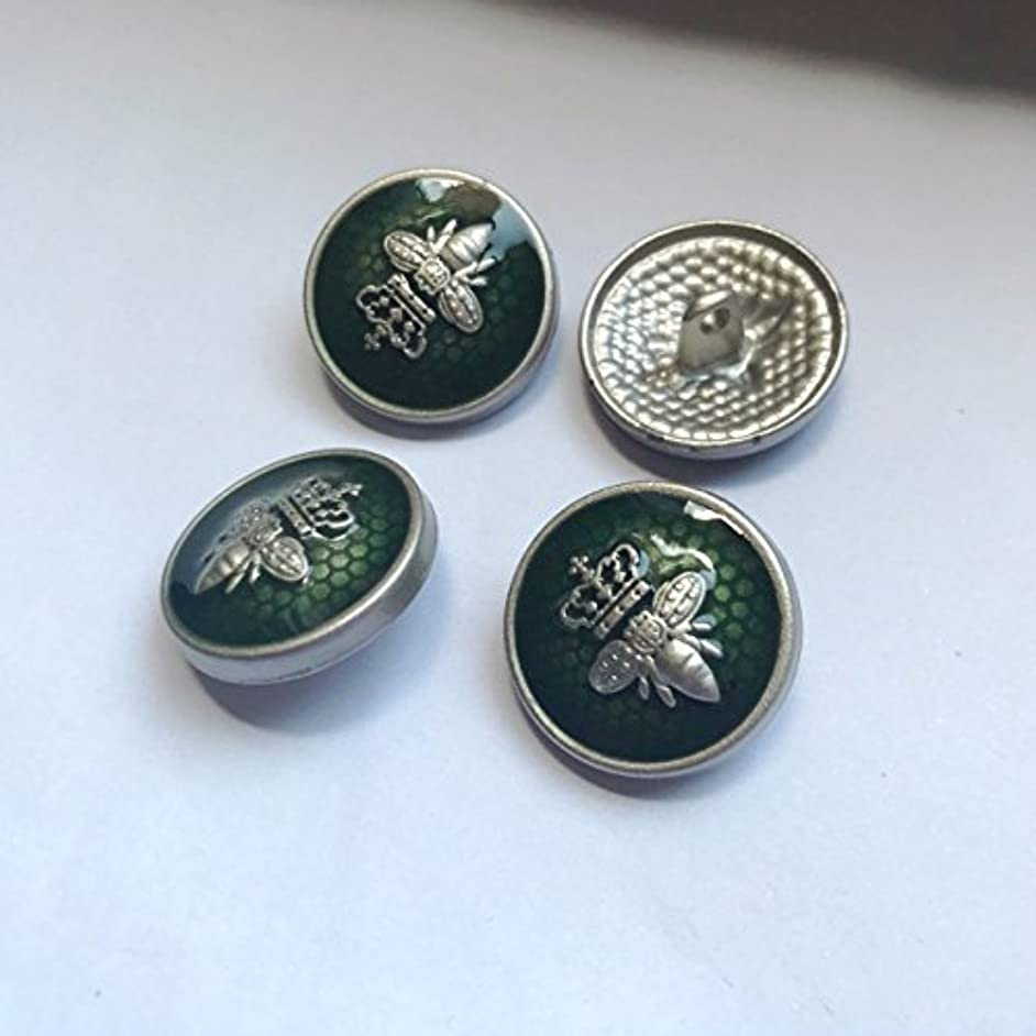 Bee Crown Metal Shank Sewing Buttons for Blazer, Suits, Sport Coat, Uniform, Jacket Button sew DIY (1# Green, 10pcs 18mm)