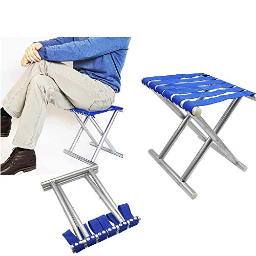 ZIZLY Portable Folding Stool, Super Strong Heavy Duty Outdoor Folding Chair, Camping Hiking Fishing Picnic Stool, Collapsible Camping Stool Mini for Travel, Garden Chair - Blue, 31 * 31 * 25 cm
