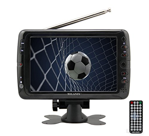 Milanix MX7 7' Portable Widescreen LCD TV with Detachable Antennas, USB/SD Card Slot, Built in Digital Tuner, and AV Inputs
