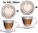 Feelino 2X 350ml doppelwandige Glas Thermo-Herztassen mit Untersetzer - Glas-Teetasse/Kaffeetasse...