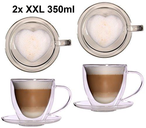 Feelino 2X 350ml doppelwandige Glas Thermo-Herztassen mit Untersetzer - Glas-Teetasse/Kaffeetasse mit Schwebeeffekt, Herz Herzform zum Muttertag, Weihnachten