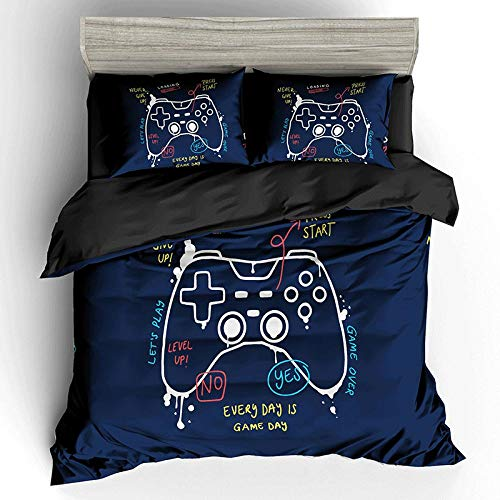 HGFHGD Blaues Gamepad-Muster 3D-Druck Bettwäsche Single/Double Kinder-Bettwäsche-Set Dreiteiliger Bettbezug