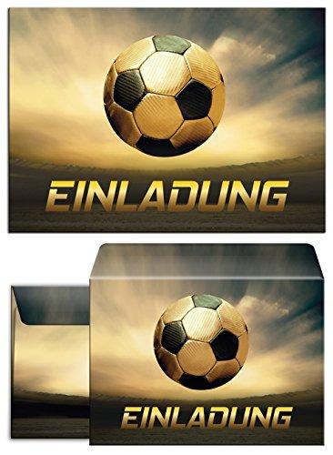 JuNa-Experten 12 Einladungskarten incl. 12 Umschläge zum Kindergeburtstag Geburtstag für Junge Fussball / Fußball Party / Bunte Einladungen zum Geburtstag (12 Karten + 12 Umschläge)
