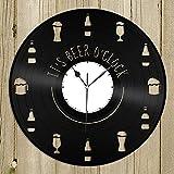 It's Beer O'clock - Reloj de pared retro con disco de vinilo para regalo de Año Nuevo, Navidad, cumpleaños, personalidad, creativo, decoración de pared