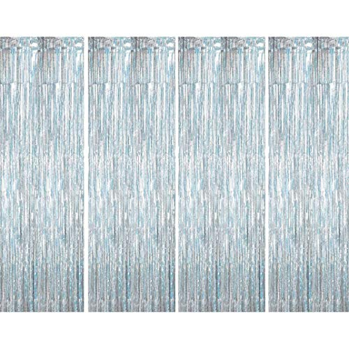 Muhome Holographic Silver Foil Fringe Curtain, 4PCS 3.28FT x 8.2FT Metallic Tinsel Door Curtains Photo Booth Backdrop for Wedding Birthday Baby Shower Bachelorette Christmas Party Decorations