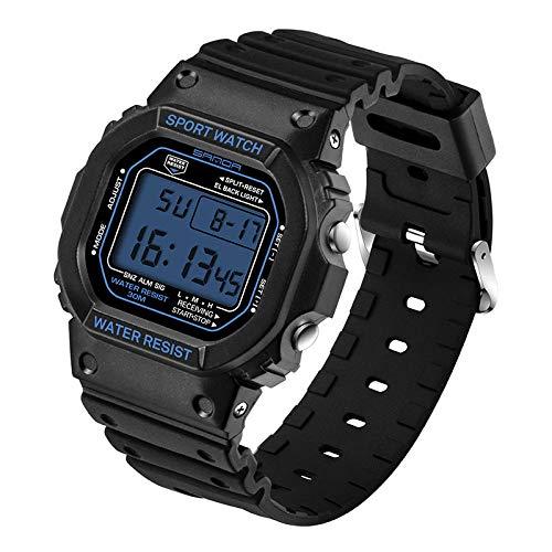 SANDA Reloj Mujer,Moda Casual Pareja Reloj Deportes al Aire Libre Reloj electrónico Multifuncional-Mujeres Negras y Azules
