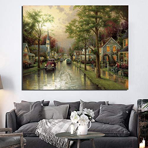 KWzEQ Heimatstadt Morgen Leinwand Malerei Wandkunst Poster Druck Moderne Malerei als Wohnzimmer Home Dekoration,Rahmenlose Malerei,60x75cm