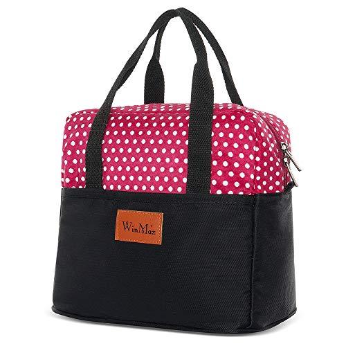 Winmax - Bolsas para almuerzo con aislamiento portátil y reutilizable, para las mujeres Punto rojo.