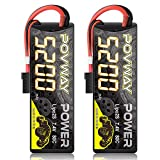 POVWAY 5200mAh 80C 7.4V 2S RC LiPo Battery Hard Case with Tr Plug for RC Cars, RC Truck, RC Airplane, RC Helicopter, Drone, Quadcopter - 2pack (52002S80C 2Pack)