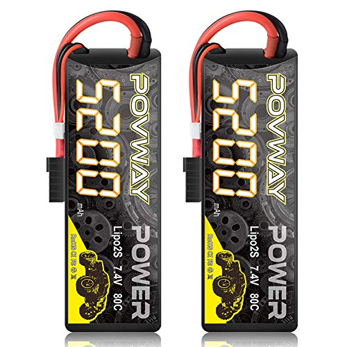 POVWAY 5200mAh 80C 7.4V 2S RC LiPo Battery Hard Case for RC Cars, RC Truck, RC Airplane, RC Helicopter, Drone, Quadcopter - 2pack (52002S80C-TRX Plug)
