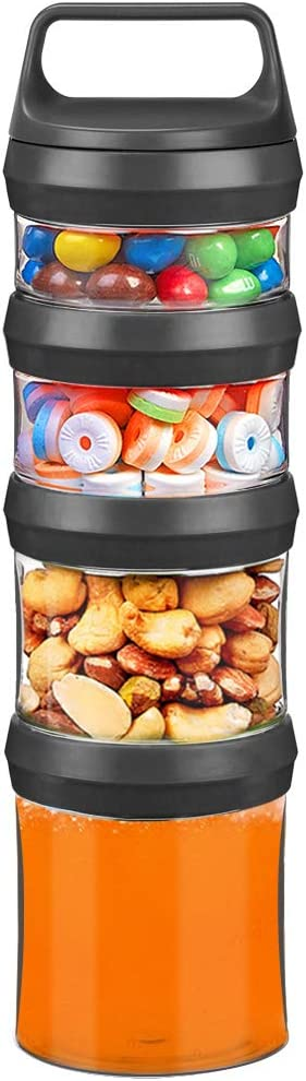 SELEWARE Stackable Snack Jars, Twist Lock Stackable Containers Set, Food Storage Travel Container for Storing Milk Protein Powder Snacks, BPA Free, 4-Piece for 1 Pack (Black, Total 31oz)