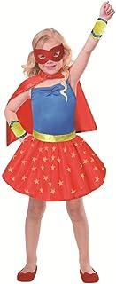 SP Funworld Disfraz de Superhéroe para Niña con Capa, Puños, Máscara de Ojos (4-6Years)