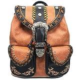 Zelris Western Country Floral Buckle Rucksack Backpack (Rustic Copper)