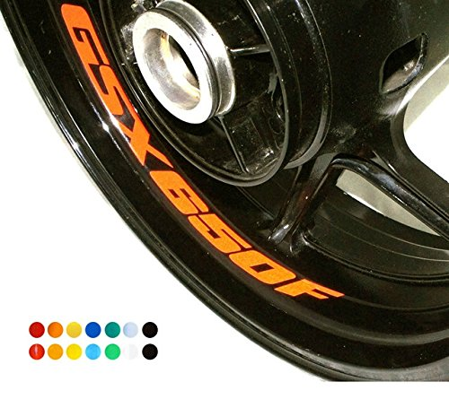 8 X Felgen Motorrad Bike Aufkleber Sticker Decal SUZUKI GSX 650 F für Vorder und Hinterrad Innenrand Aufkleber Sticker Felgen Set Tuning
