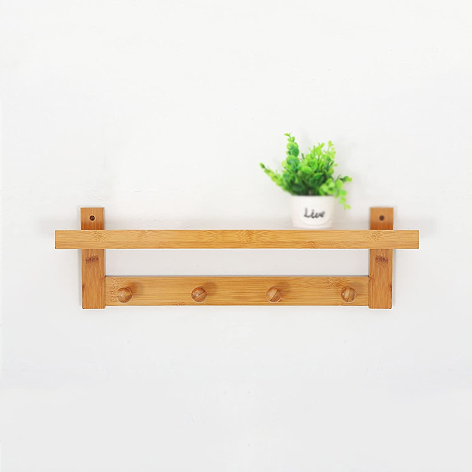Multi-Functional Primary color Wall Coat Rack, Wall Solid Wood Shelves Shelves, 3 Kinds of Size Options (Size   61  12  18cm)
