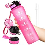 OUTXE 32oz Motivational Water Bottle with Time Marker with Straw & 2 Lids & Removable Fruit Strainer BPA-Free Tritan Water Bottle 1L Non-Toxic Great for Fitness Gym Outdoor Sports