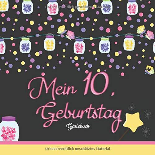 Mein 10. Geburtstag: Gästebuch I Girlanden & Lampions I für 60 Gäste I Geschriebene Glückwünsche & die schönsten Fotos I Quadratisch I Softcover I Mitbringsel Mädchen Geburtstag