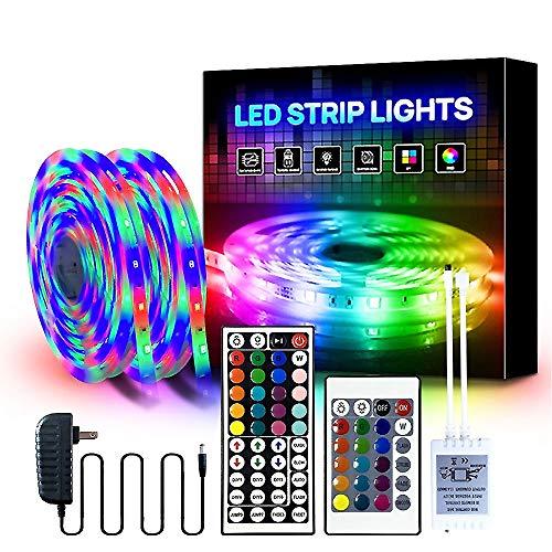 YMXLJJ Ultralange RGB-Streifen 2835 LEDs, 10M LED-Streifenleuchten, Flexible Klebebänder, Mehrfarbige Stimmungslichter mit 44 Tasten Fernbedienung für Zuhause, Schlafzimmer, Fernseher,A44 2