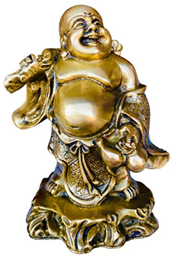 QT S Laughing Buddha Brass Statues for Lucky & Happiness, Laughing Buddha Figurines Sculptures Carrying Money Bag or Business Journey God of Wealth 8 in Statue Decor Housewarming and Business Gifts