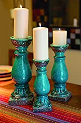 Turquoise Ceramic Pilar Candle Holders