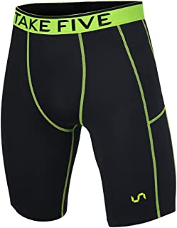Take Five Men's Side Pocket Compression Shorts Cool Dry UV Protection Baselayer Running Tights
