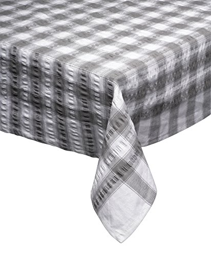Plain Gingham Checked 100/% Cotton Seersucker Matériau Table Cloth Fabric White