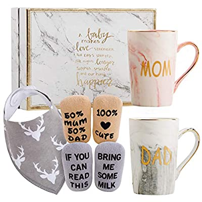 New Parents Pregnancy Gift Ideas Includes Premium Gift Basket for Mom and Dad Mugs 14 oz - Expecting Mother to be - Baby Shower Gender Reveal by Estö